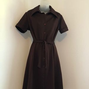 Vintage Button Down Brown Belted Polyester Dress